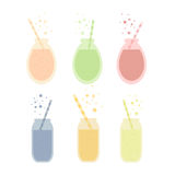 Set of cocktail fruit juice in glass. Vector objects Royalty Free Stock Images