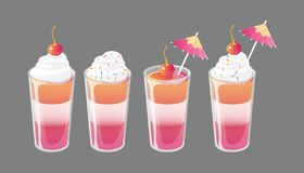 Set of cocktail jelly shot with toppings. Fresh sweet drink ads concept. Vector illustration. Set of jelly shots with cream, cocktail umbrella and cherry on top royalty free illustration