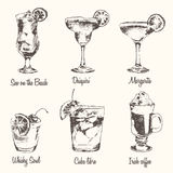 Set cocktail Margarita Whiskey drawn sketch vector Royalty Free Stock Photography