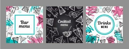 Set of cocktail menu cover design templates. Vector outline hand drawn illustration with color spots and blackboard vector illustration