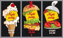Set of Cocktail party posters. Night Party design template with. Place for text. Set of posters with ice cream, burger, lobster Royalty Free Stock Image