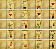 Set of cocktail recipes Stock Photos