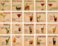 Set of cocktail recipes Stock Images