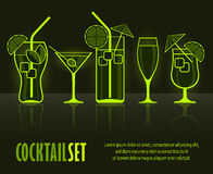 Set of cocktail silhouettes on black Royalty Free Stock Image