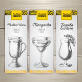 Set of cocktail sketch banners Stock Photos