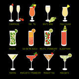 Set of Cocktails and Alcohol Drinks in black background. Royalty Free Stock Photo