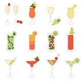Set of Cocktails and Alcohol Drinks. Cute set of alcoholic cocktails Royalty Free Stock Images