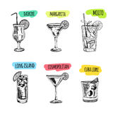 Set of cocktails and alcohol drinks. Sketch. Vector hand drawn set of cocktails and alcohol drinks. Sketch Stock Image