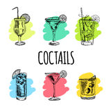 Set of cocktails and alcohol drinks. Sketch. Vector hand drawn set of cocktails and alcohol drinks. Sketch Stock Images
