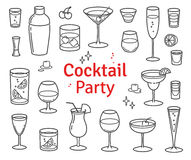 Set of Cocktails and Alcohol Drinks Vector Royalty Free Stock Image