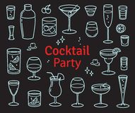 Set of Cocktails and Alcohol Drinks Vector royalty free illustration