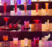 Set of cocktails, alcohol, glasses, night club. bar, pub Royalty Free Stock Photos