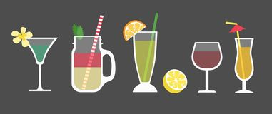 Set of cocktails. Different alcoholic drinks vector illustration
