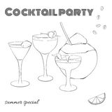A set of cocktails in different glasses. Cocktail party template. In a sketch style Stock Image