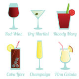Set of cocktails. Set of different cocktails on white background Stock Photography