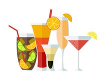 Set of cocktails. Flat style. Vector illustration. Tequila sunrise, Bellini cocktail, long island, B52 and cosmopolitan stock illustration