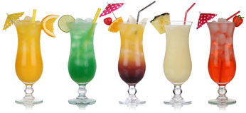 Set of cocktails with Pina Colada and Tequila Sunrise. Isolated on a white background royalty free stock photo