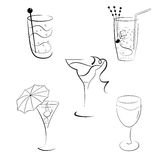 Set of cocktails and wines Royalty Free Stock Image