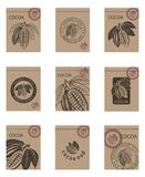 Set of cocoa packages. Collection of packages with cocoa beans and leaves stock illustration