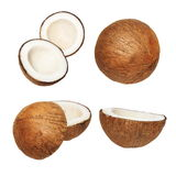 Set coconut isolated on white background,  with clipping path Royalty Free Stock Photos