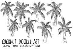 Set of coconut tree illustration Hand drawn doodle Sketch line v. Set of coconut tree illustration Hand drawn doodle Sketch line Royalty Free Stock Images