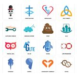 Set of cofee, handicraft company, stingray, hamsa, minimal owl, poop, auto body repair, orphanage, mister icons. Set Of 16 simple  icons such as cofee Stock Images
