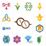 Set of cofee, simple tree service, never give up, saffron, earth hour, arm wrestling, stratis, lis, holy trinity icons. Set Of 13 simple editable icons such as Stock Photos