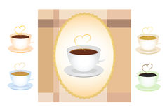 Set of coffe cups. With sample background Stock Image