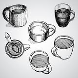 Set of coffe mugs drawing sketch style. Set of coffe mugs vector drawing sketch style Royalty Free Stock Photos