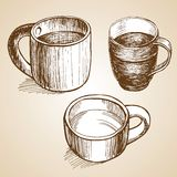 Set of coffe mugs drawing sketch style. Set of coffe mugs vector drawing sketch style Royalty Free Stock Images