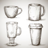 Set of coffe mugs Stock Photo