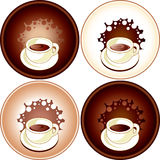 Set of coffee. Cup of coffee with milk, chocolate, cappuccino, cocoa Royalty Free Stock Photos
