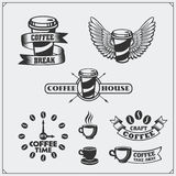 Set of coffee badges, labels and design elements. Coffee shop emblems templates. Black and white vector illustration