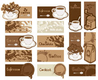Set of coffee banners. Set of fifteen coffee banners Royalty Free Stock Photos