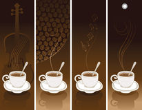 Set of coffee banners. Set of four coffee banners Royalty Free Stock Photos