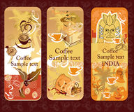 Set of coffee banners. With coffee icons Royalty Free Stock Photo