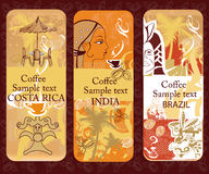 Set of coffee banners. From Brazil, India, Costa Rica Stock Image