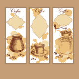 Set of coffee banners with frames. Vintage hand drawn design elements. Vintage coffee machine, cup of coffee and coffee mill Royalty Free Stock Photography