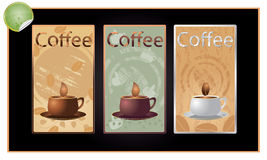Set of coffee banners vector. Set of coffee banners on a black background Royalty Free Stock Photos