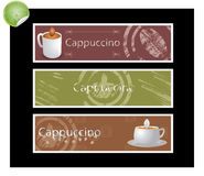Set of coffee banners vector. Set of coffee banners on a black background Stock Photography