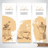 Set of coffee banners. Vintage hand drawn design elements. Vintage coffee machine, cup of coffee and geyser coffee pot Stock Photos
