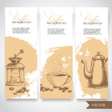 Set of coffee banners. Vintage hand drawn design elements. Vintage coffee machine, cup of coffee and coffee pot Royalty Free Stock Photos