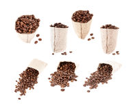Set of coffee beans in the bag isolated Stock Images