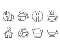 Coffee beans, Cappuccino and Milk jug icons. Mint tea, Coffeepot and Americano signs. Set of Coffee beans, Cappuccino and Milk jug icons. Mint tea, Coffeepot Royalty Free Stock Images