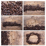 Set of coffee beans on wood background Stock Photography
