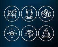 Coffee-berry beans, Teacup and Cleaning icons. Parcel delivery, Push cart and Tea cup signs. Set of Coffee-berry beans, Teacup and Cleaning icons. Parcel Stock Photos