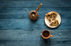 Set for coffee brewing. Morning coffee set from mugs Turks and cake Royalty Free Stock Images