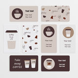 Set coffee business card Royalty Free Stock Photos