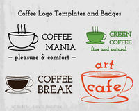 Set of Coffee cafe icons logo and business cards Royalty Free Stock Images