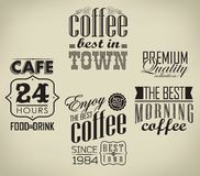 Set of coffee , cafe typographic elements Royalty Free Stock Images